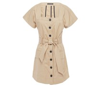 Woman Tyler Belted Stretch-cotton Canvas Mini Dress Beige