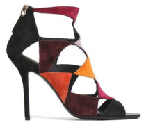 Cutout Color-block Suede Sandals Grape