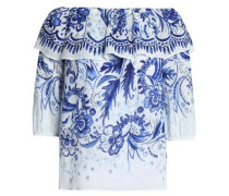 Off-the-shoulder printed cotton-gauze top