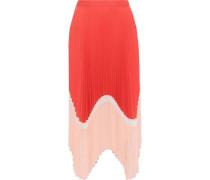 Cloe Pleated Color-block Crepe De Chine Skirt Red