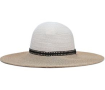 Honey Raffia-trimmed Two-tone Woven Straw Sunhat Sand Size ONESIZE