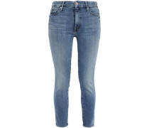Woman Cropped Faded Mid-rise Skinny Jeans Light Denim