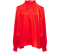 Woman Cold-shoulder Gathered Satin-crepe Blouse Tomato Red