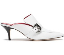 Buckled Leather Mules White