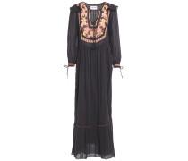 Lova Crochet-trimmed Gathered Cotton-gauze Maxi Dress