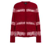 Paneled Lace And Wool Cardigan Claret