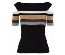 Cold-shoulder Striped Stretch-jersey Top Black