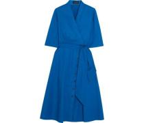Belted stretch-cotton poplin dress