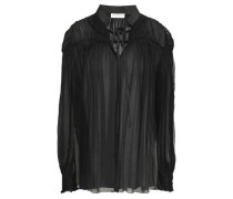 Ruched Silk-georgette Blouse Black