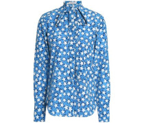Printed silk-crepe shirt