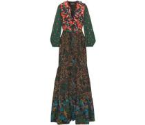 Embellished Printed Silk Crepe De Chine Maxi Dress Multicolor