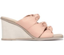 Knotted Faux Leather Wedge Sandals Pastel Pink