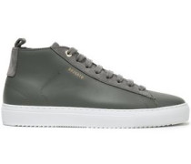 Suede-trimmed Leather Sneakers Anthracite