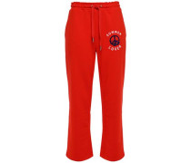 Flocked French Cotton-blend Terry Track Pants Tomato Red