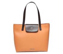 Two-tone Leather Shoulder Bag Camel Size --
