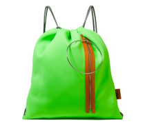 Woman Ring-embellished Leather-trimmed Neoprene Backpack Lime Green