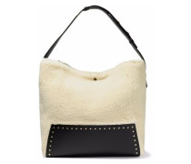 Studded faux leather-paneled faux shearling tote