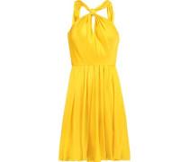 Gathered pleated silk-satin mini dress