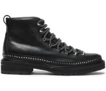 Lace-up Studded Leather Ankle Boots Black