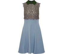 Corded lace-paneled crepe mini dress