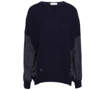 Satin-paneled Cashmere And Wool-bend Top Navy