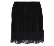 Corded Lace-appliquéd Stretch-knit Mini Skirt Black