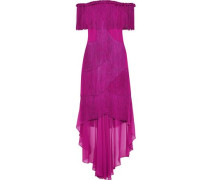 Off-the-shoulder Fringed Crepe And Chiffon Gown Magenta