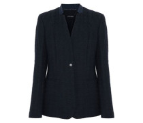 Tori leather-trimmed cotton-blend tweed blazer