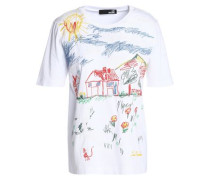 Embroidered cotton-jersey top
