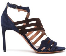 Woman Cutout Two-tone Suede Sandals Indigo