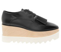 Woman Fringe-trimmed Faux Leather Platform Brogues Black