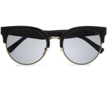 D-frame acetate and silver-tone sunglasses