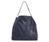 Chain-trimmed Faux Brushed-leather Tote Midnight Blue Size --