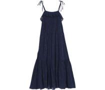 Ruffled silk-blend fil coupe maxi dress
