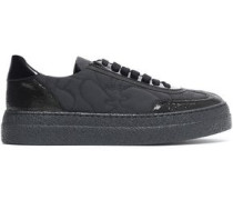 Paneled patent leather-trimmed and quilted shell sneakers