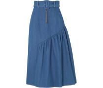 Belted Gathered Denim Midi Skirt Mid Denim