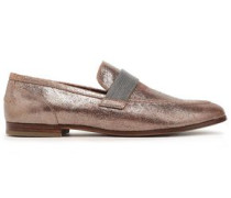 Bead-embellished Cracked-leather Loafers Copper