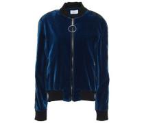 Satin-paneled Cotton-velvet Bomber Jacket Cobalt Blue