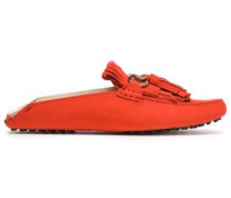 Fringed Suede Mules Tomato Red