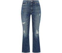 Distressed Faded High-rise Straight-leg Jeans Mid Denim  5