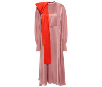Bow-embellished Crepe De Chine-paneled Silk-satin Midi Dress Antique Rose Size 12