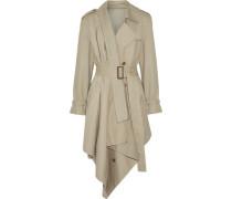Asymmetric cotton-gabardine trench coat