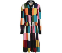 Color-block brushed woven shirtdress