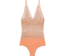 Ophelia Whistling Lace And Stretch-jersey Bodysuit Pastel Orange