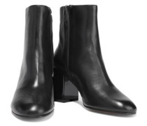 Keyla Glossed-leather Ankle Boots Black
