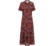 Pleated Printed Satin Midi Shirt Dress Burgundy