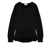 Merino Wool Peplum Sweater Black