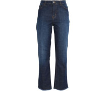Frayed high-rise straight-leg jeans