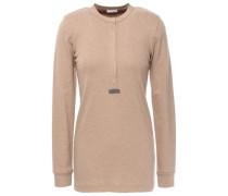 Bead-embellished Cotton-blend Top Light Brown