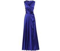 Woman Wrap-effect Crepe-satin Gown Royal Blue